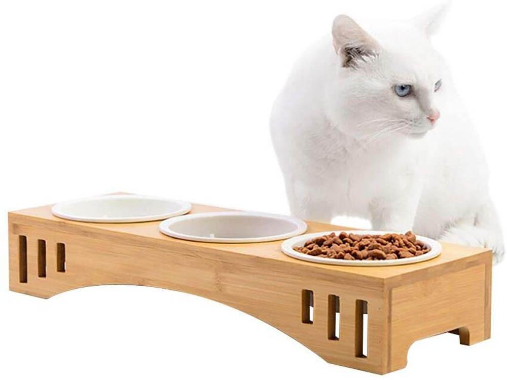 Comedero para gatos Petacc Bambú